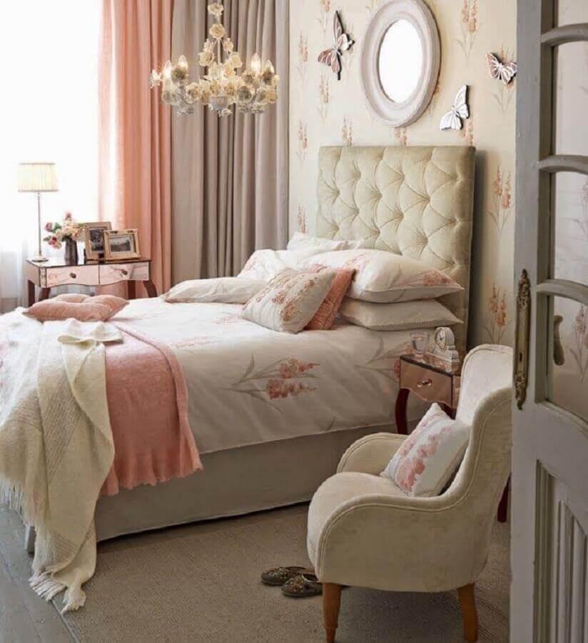 quartos bonitos femininos com cabeceira estofada capitonê Foto Pinterest