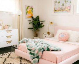 quartos bonitos femininos decorado com vaso de planta e lustre moderno Foto Pinterest