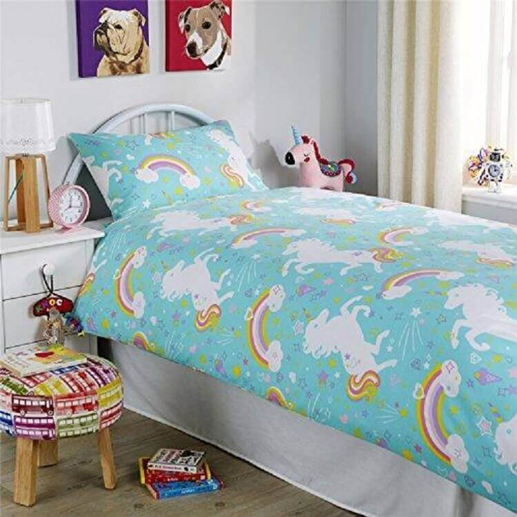 roupa de cama para decoração de quarto unicórnio simples Foto Pinterest