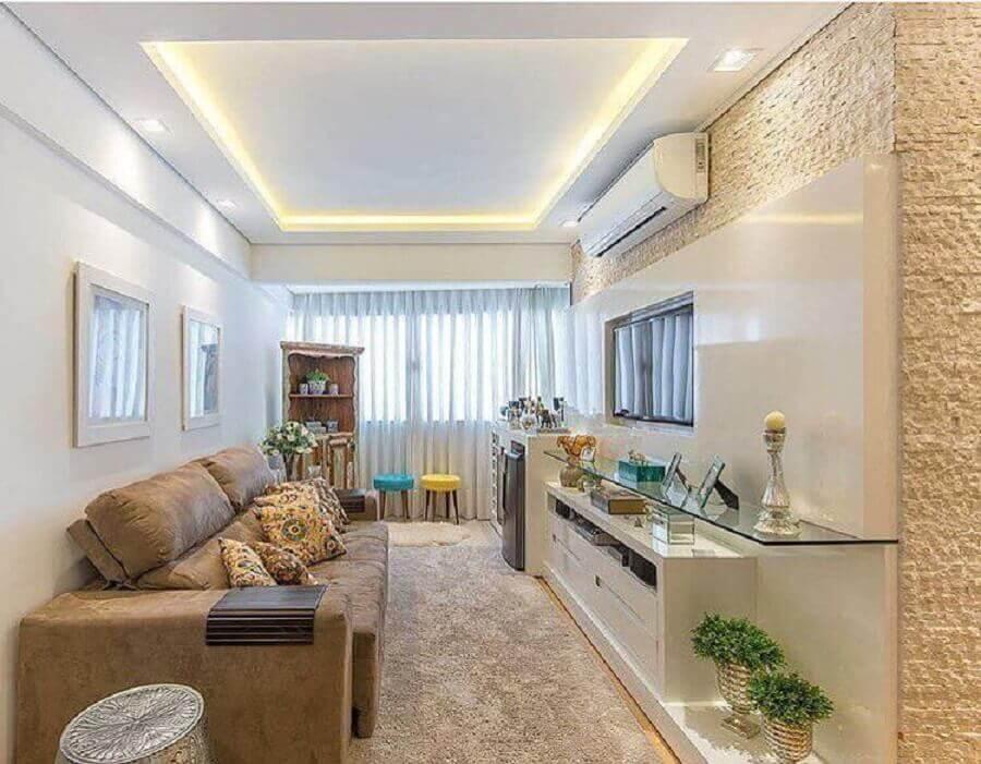 sofá cor creme para sala pequena planejada Foto Casinha Arrumada