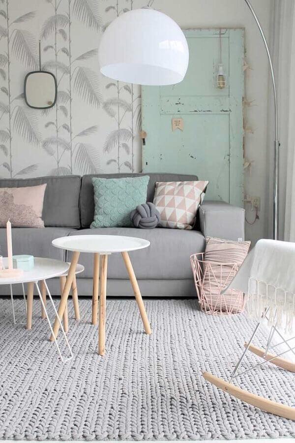 tapete cinza de crochê para decoração de sala simples Foto Pinterest