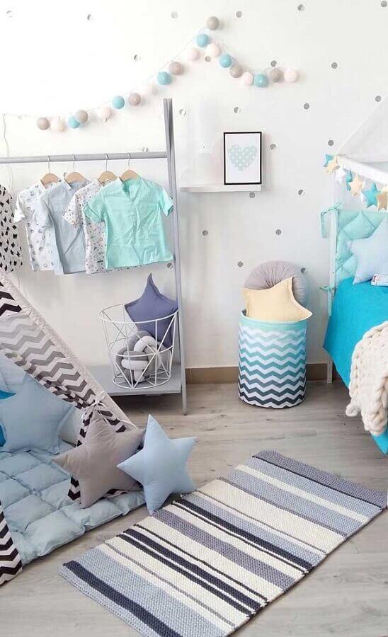 tapete de crochê para quarto de menino azul e cinza Foto Pinterest