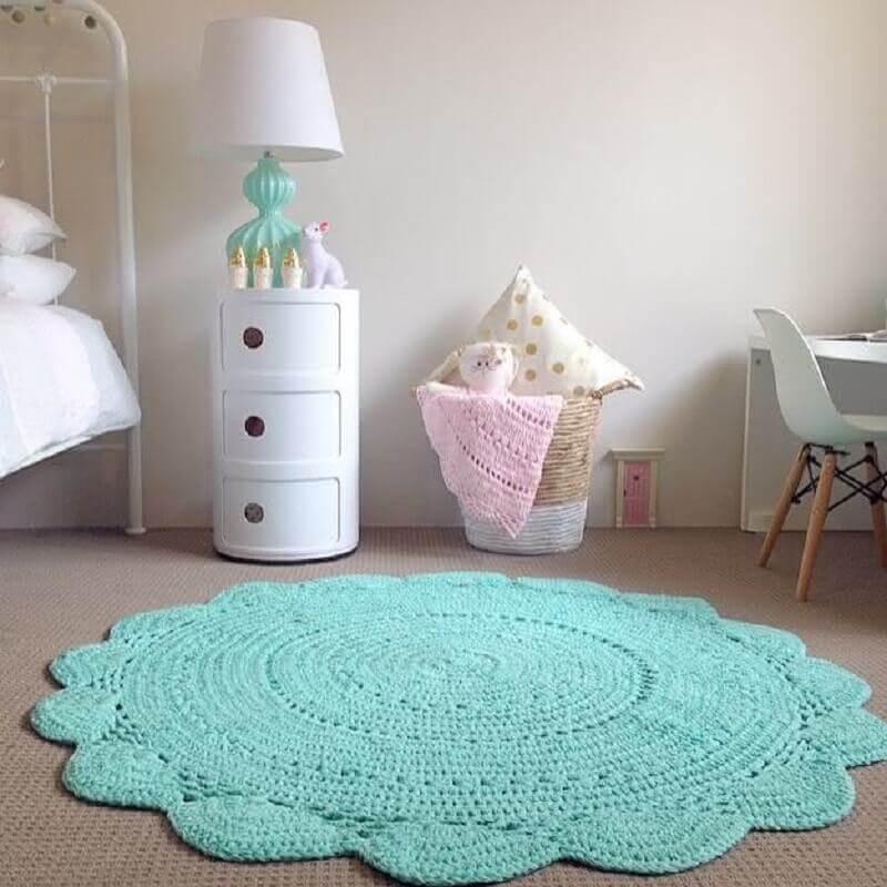 tapete de crochê para quarto infantil cinza e verde água Foto Pinterest