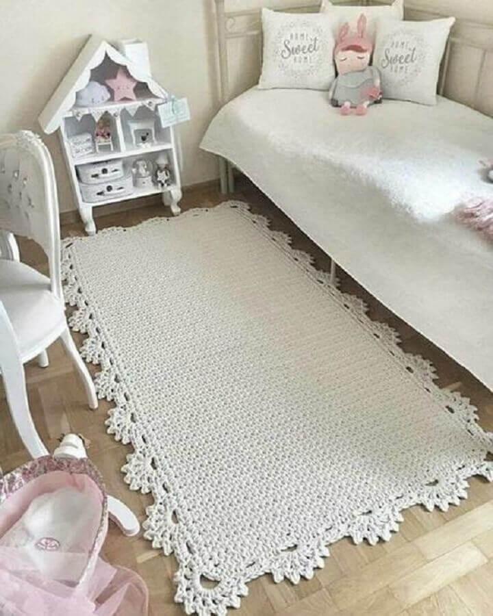 tapete de crochê para quarto infantil feminino todo branco Foto Revista Artesanato
