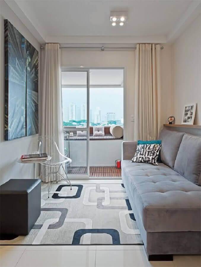 tapete geométrico cinza para decoração de sala pequena Foto VestDecor