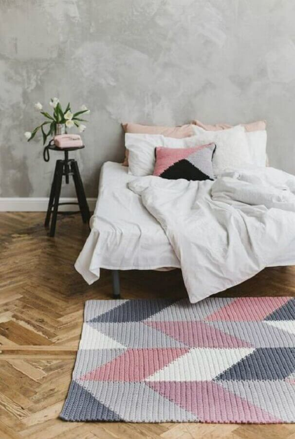 tapete geométrico para quarto minimalista Foto Revista Artesanato