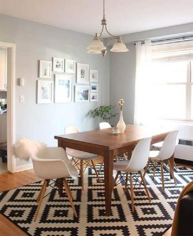 tapete geométrico preto e branco para decoração de sala de jantar Foto Pinterest