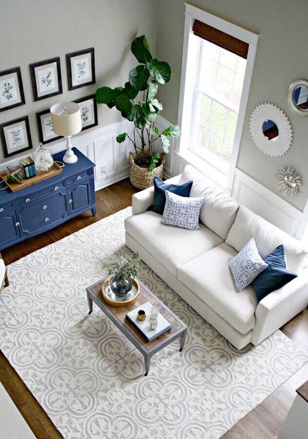 tapete para sala azul e branca com estilo clássico Foto JERA Arquitetura e Engenharia