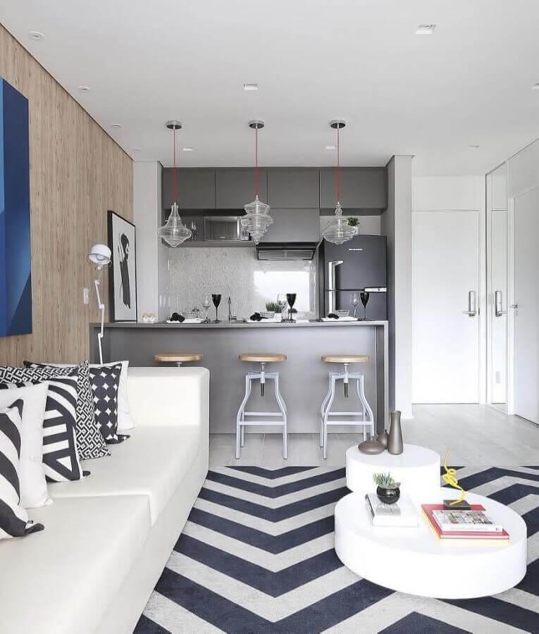 tapete preto e branco para decoração de sala com cozinha americana Foto Ideias Decor