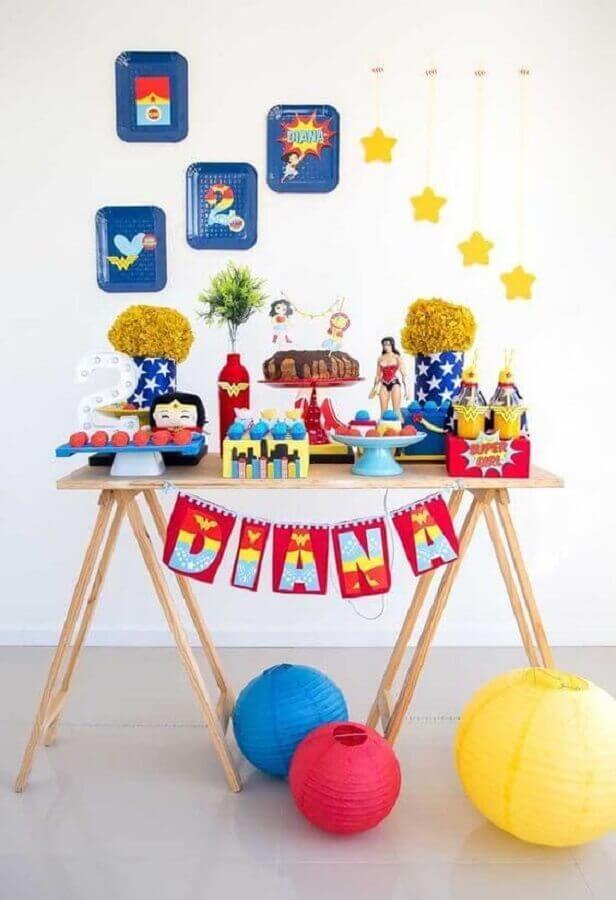 tema mulher maravilha para decoração de festa infantil simples Foto Pinterest