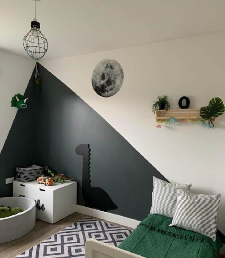 tinta cinza chumbo parede de quarto infantil Foto Pinterest