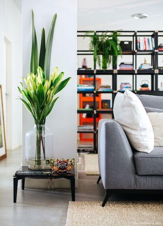 Vaso de vidro grande com plantas bonitas na decoração moderna