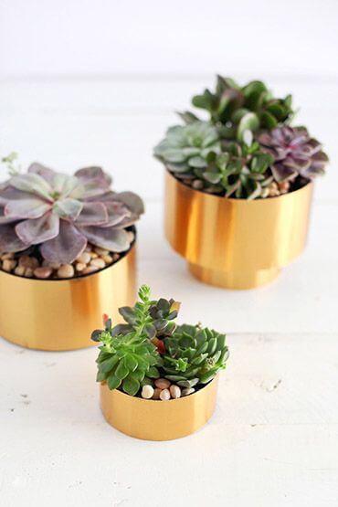 Os vasos para plantas pequenas dourados são lindas
