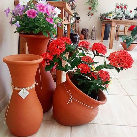 Vasos grandes para jardim com flores coloridas
