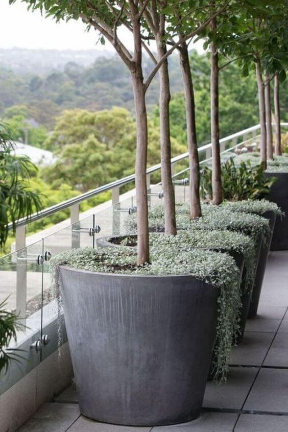 Vaso grande cinza