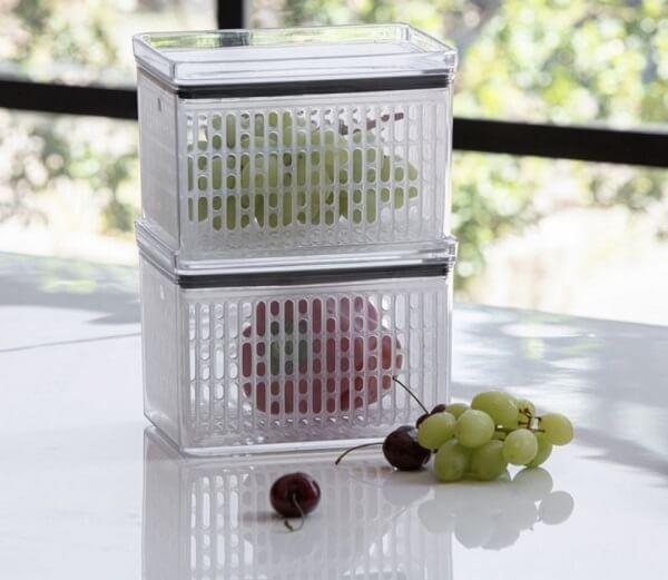 O pote hermético fresh é perfeito para armazenar frutas