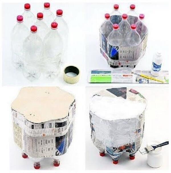 Como fazer puff de garrafa pet com folhas de jornal