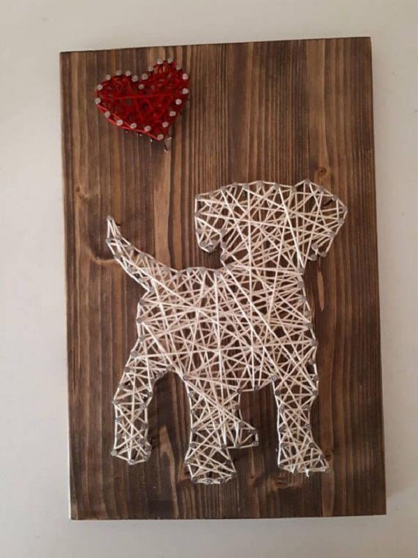 Molde string art em formato de cachorro