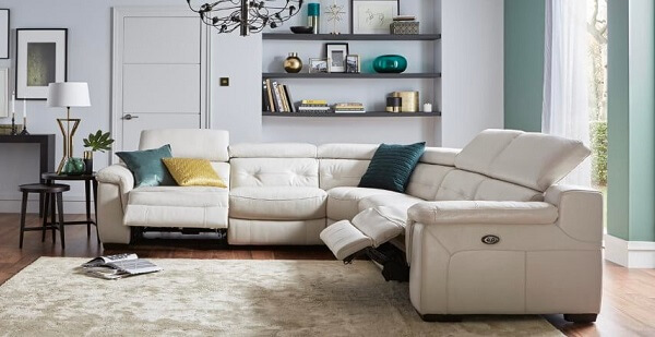 On the sofa, pullout corner-it accommodates many people, in the living room