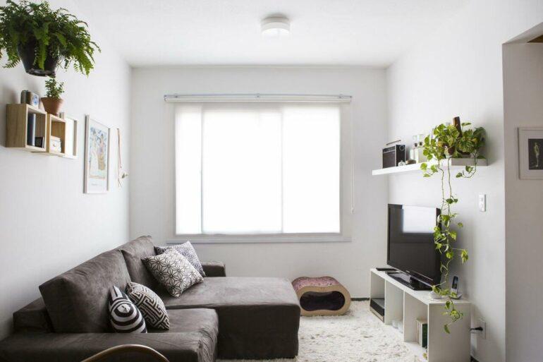 O sofá retrátil pequeno se encaixa perfeitamente no projeto