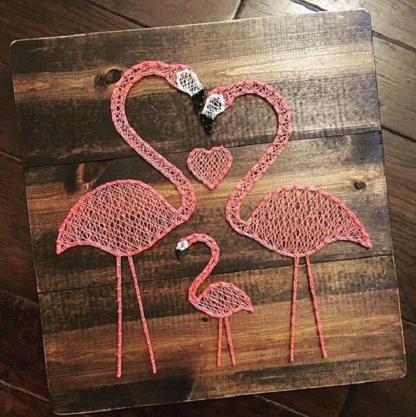 Os flamingos fazem muito sucesso na string art