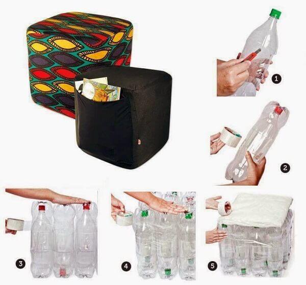 Puff de garrafa pet passo a passo em formato quadrado