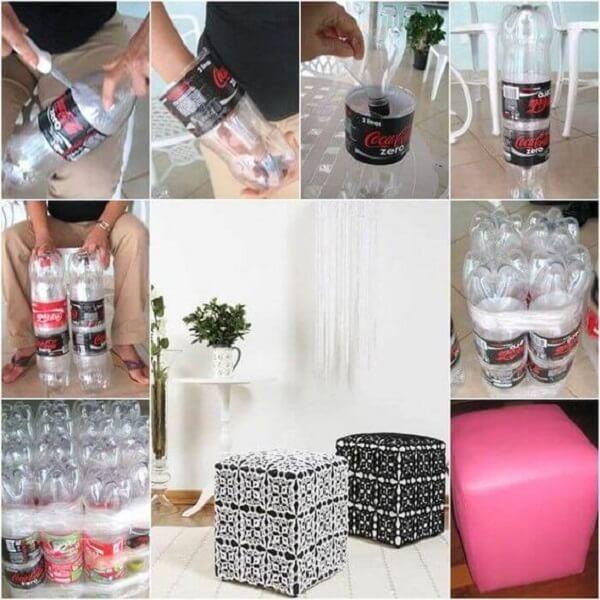 Puff de garrafa pet passo a passo para criar em casa