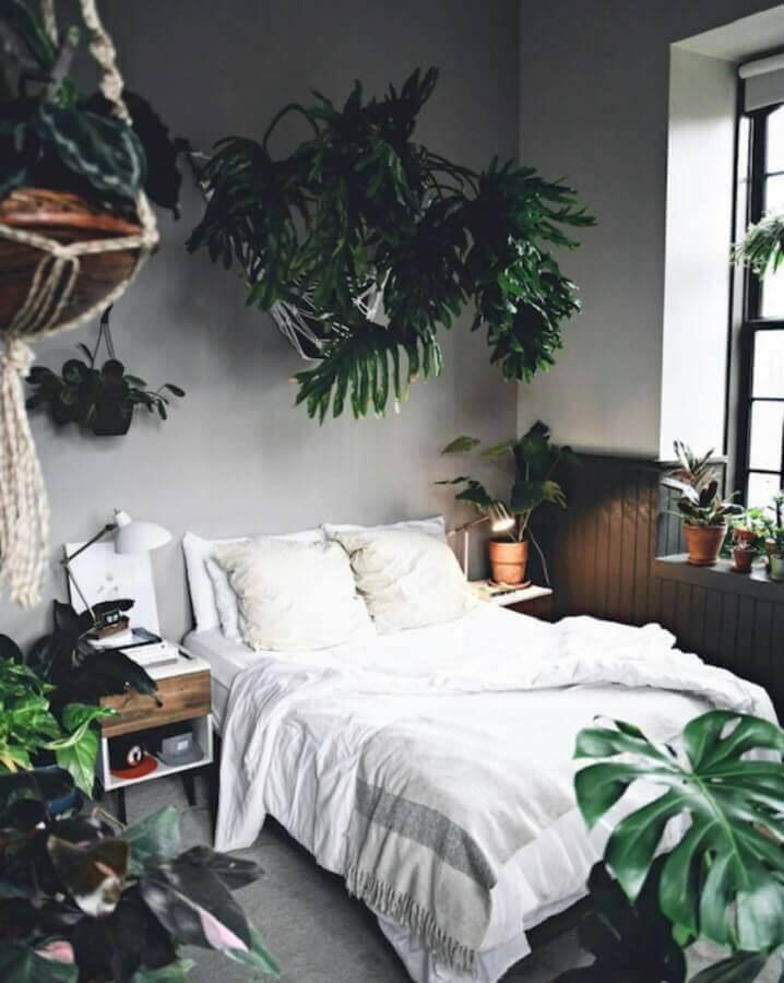 Quarto simples decorado com vários vasos de plantas