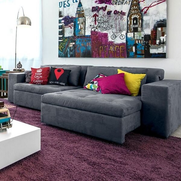 Sofa murphy suede grey with colorful cushions