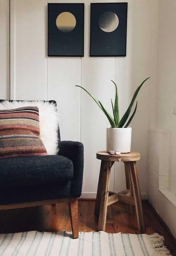 Traga um toque de verde para a sala de estar incluindo um vaso de babosa