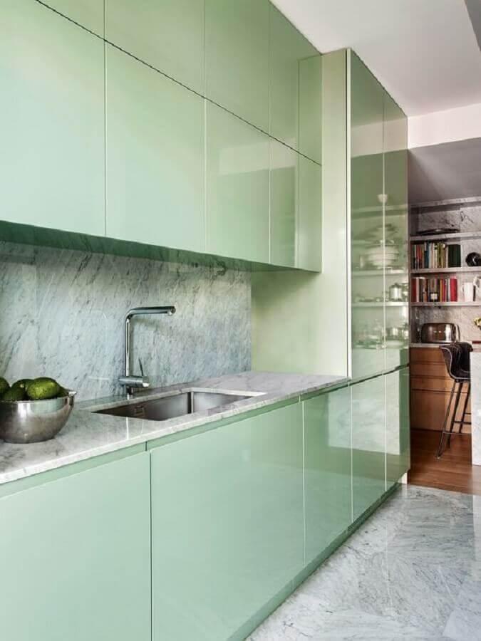 armário de cozinha verde menta planejado Foto Casa Vogue