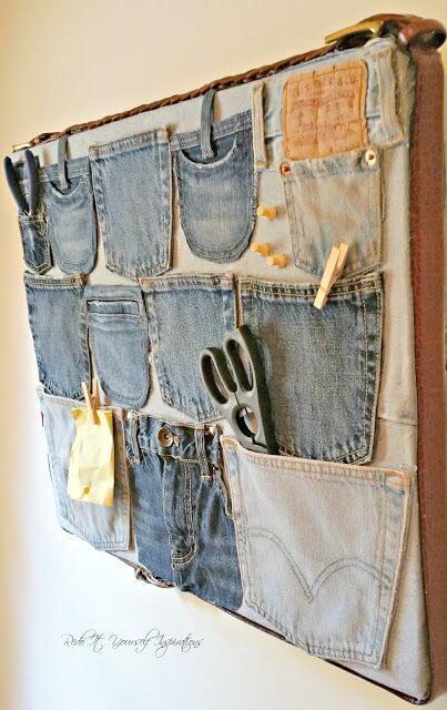 Artesanatos fáceis feito com bolso de calça jeans
