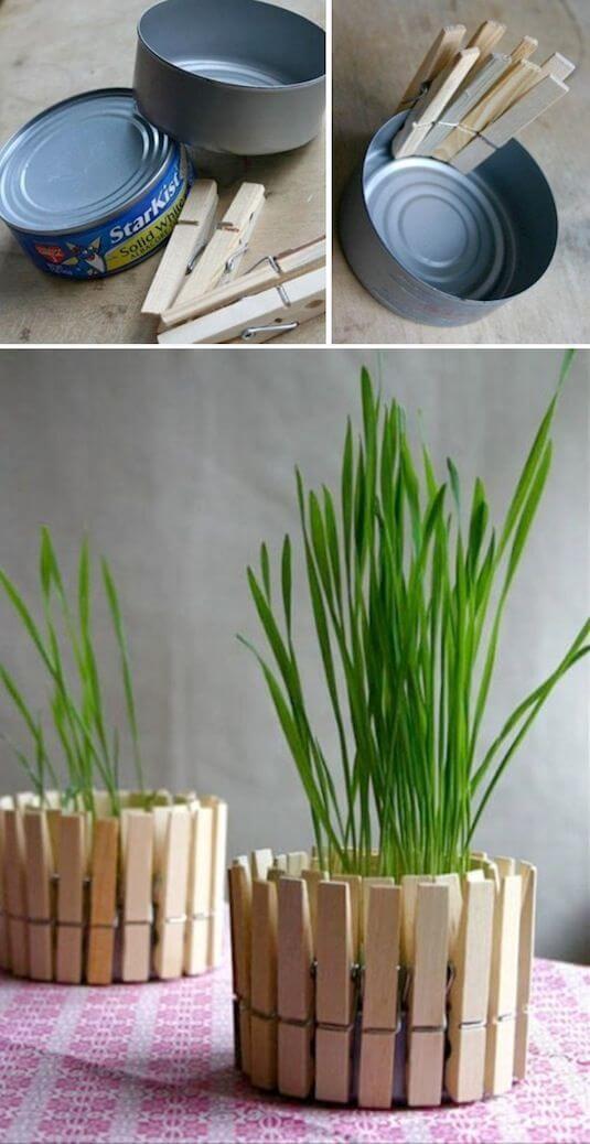 Artesanatos fáceis com pregador formando m vaso