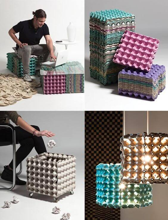 Até mesmo a caixa de ovo pode ser artesanatos fáceis
