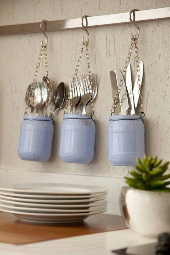 Artesanatos fáceis com pote de vidro azul