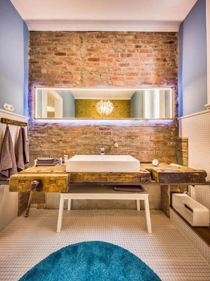 balcão de banheiro rústico Foto Pinterest