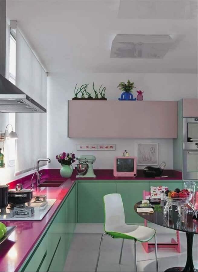bancada cor de rosa para decoração de cozinha verde menta Foto Home Fashion Trend
