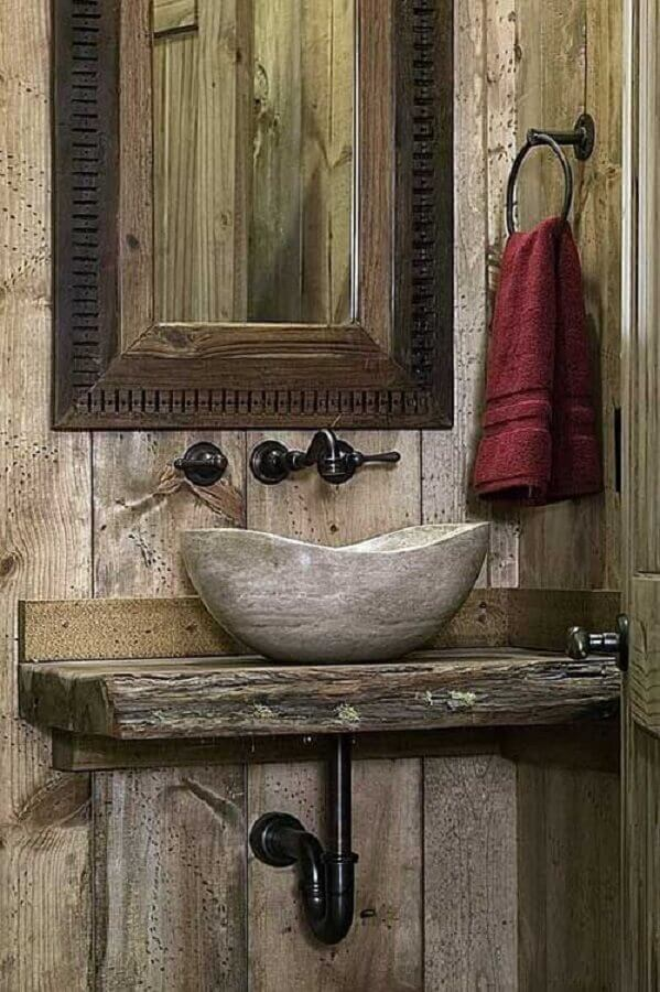 bancada e cuba rustica para banheiro Foto Sua Decoração