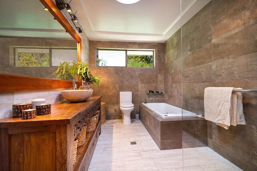 banheiro rústico moderno com banheira Foto Architecture Art Designs