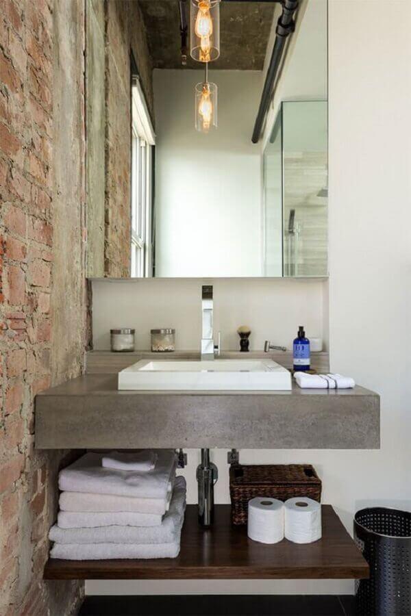 banheiro rústico moderno decorado com parede de tijolo à vista Foto Pinterest