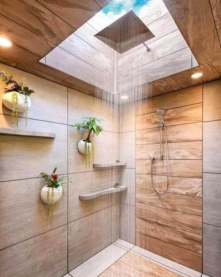 banheiro rústico moderno decorado com vasos na parede na área do box Foto Architecture Art Designs