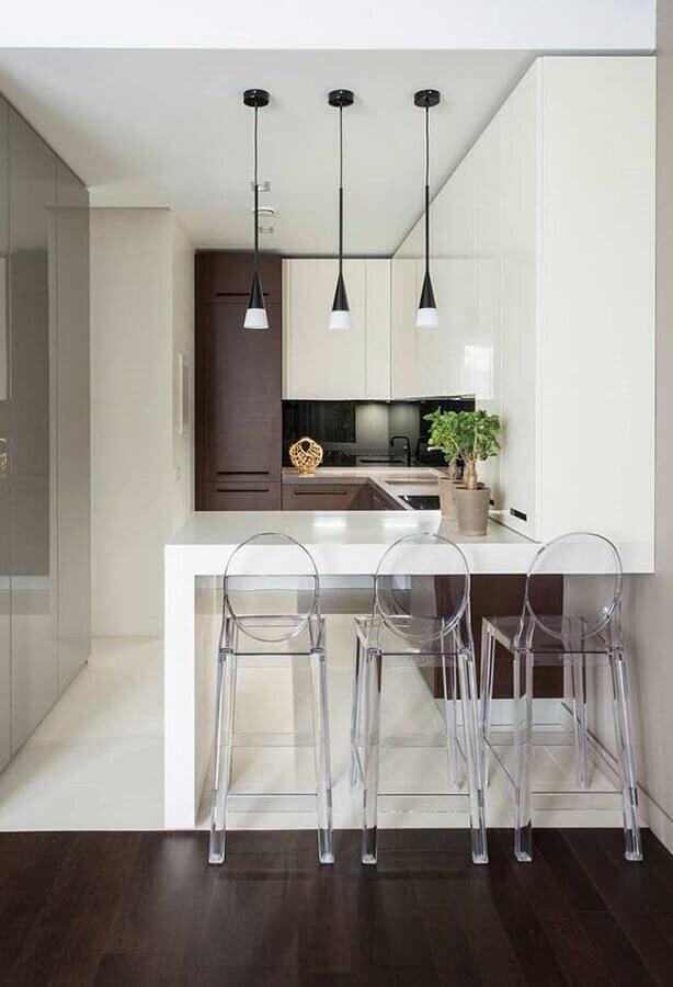 banquetas de acrílico transparente para decoração de cozinha americana em U Foto Pinterest