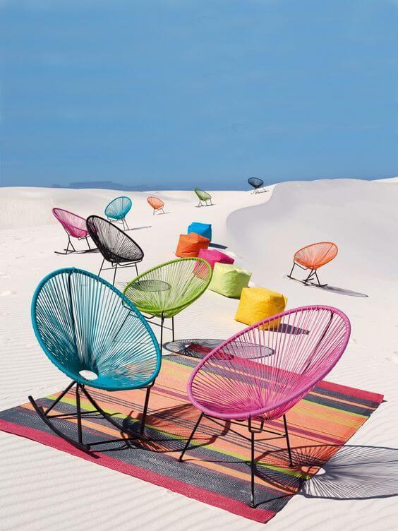 Cadeiras acapulco coloridas