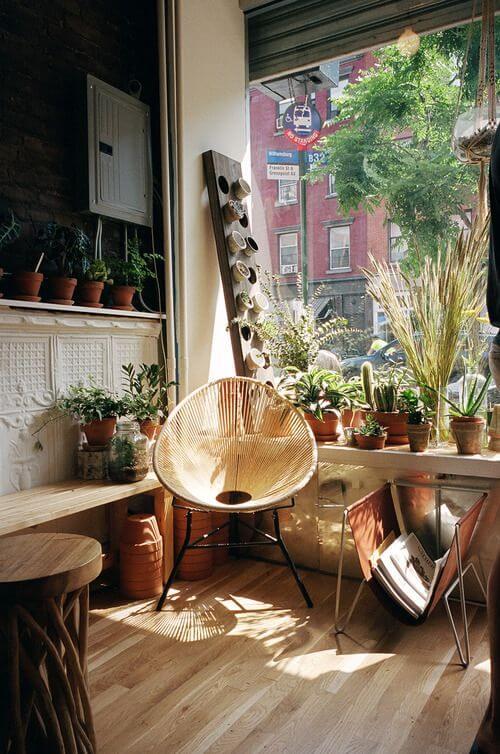 Cadeira acapulco na decoração com plantas