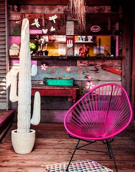 Cadeira acapulco cor de rosa
