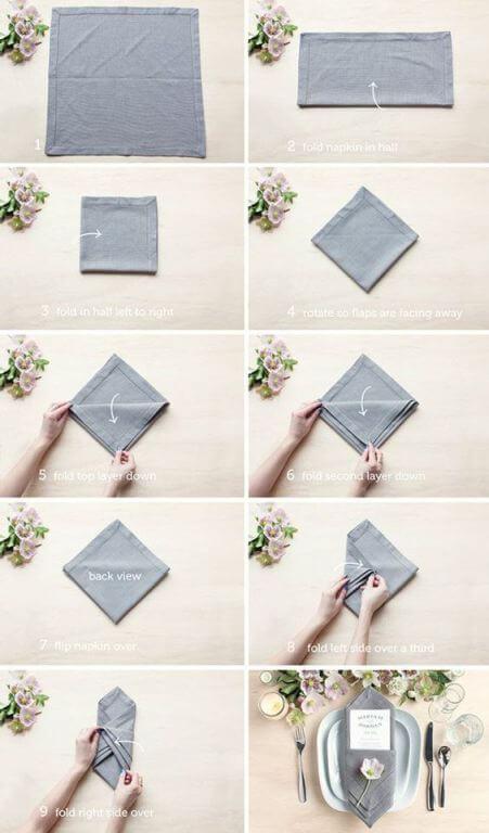 Como dobrar guardanapo de tecido para jantar