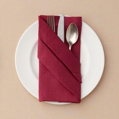 Como dobrar guardanapo de tecido marsala