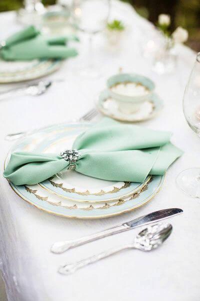 Guardanapo de tecido verde