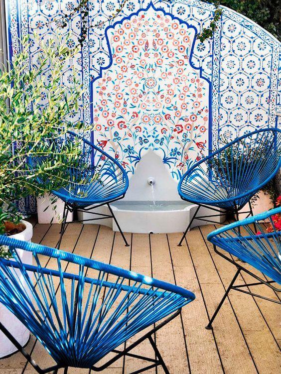 Conjunto de cadeiras acapulco azul