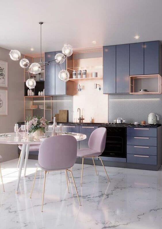 Cozinha com porcelanato liquido marmorizado
